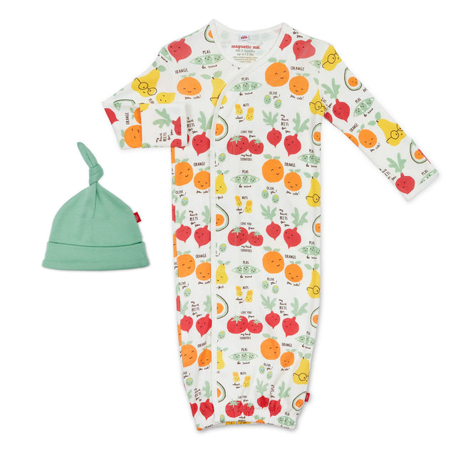 Perfect Puns Organic Cotton Magnetic Sack Gown & Hat Set