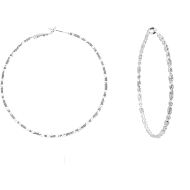 Silver Gisele Hoops - Medium