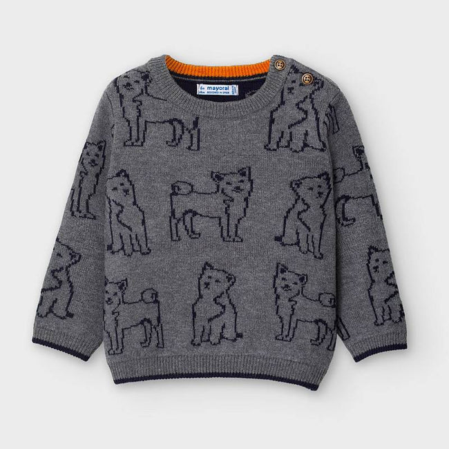 Dog Motif Sweater - Cement