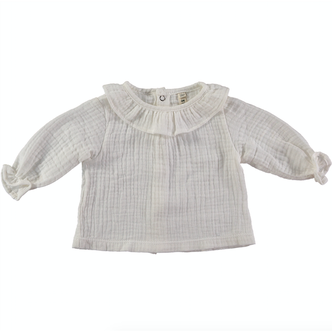 Organic Cotton Ruffle Blouse - White