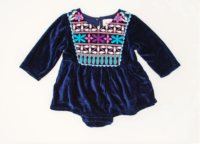 Joya Banjara Baby Dress - Navy Velvet