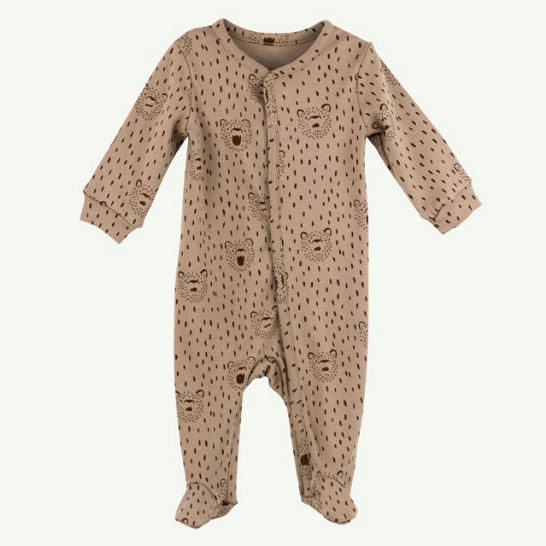 Pima Cotton Footie - Brown Bear