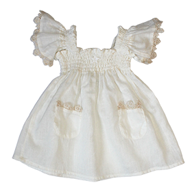 Embroidered Floral Trimmed Dress and Lace Ruffle Bloomers Set