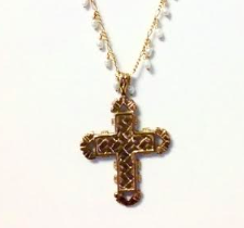 Lattice Cross Rosary Necklace