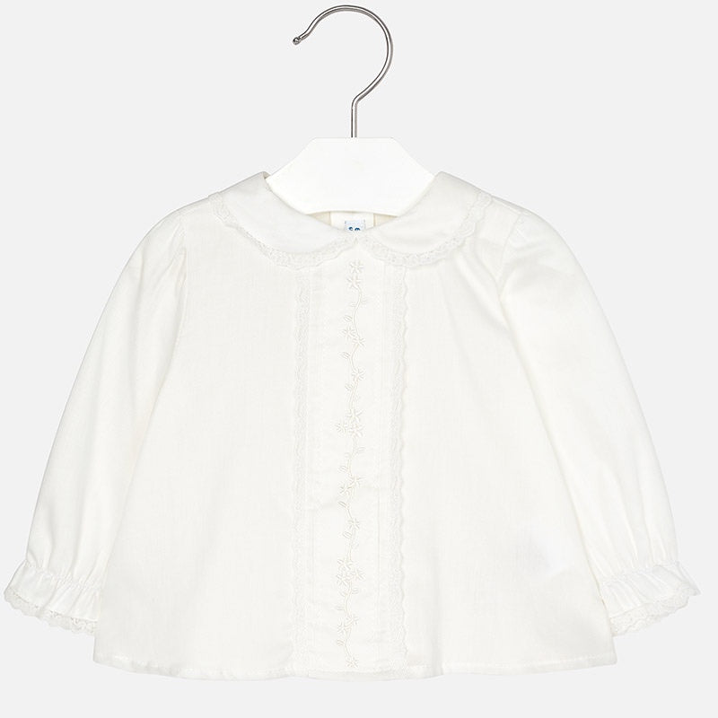 Embroidered Placket Blouse - Off White