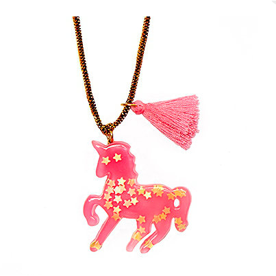 Sparkly Unicorn Necklace - Hot Pink