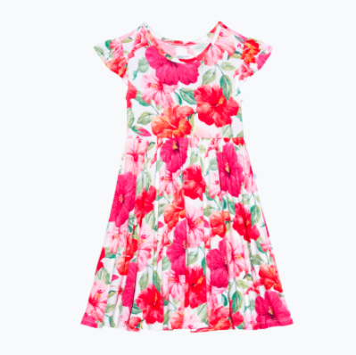 Ruffled Capsleeve Twirl Dress - Maui