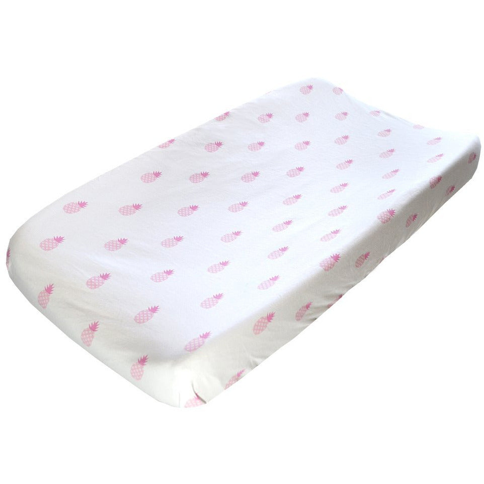 Pink Pineapples Changing Pad Cover