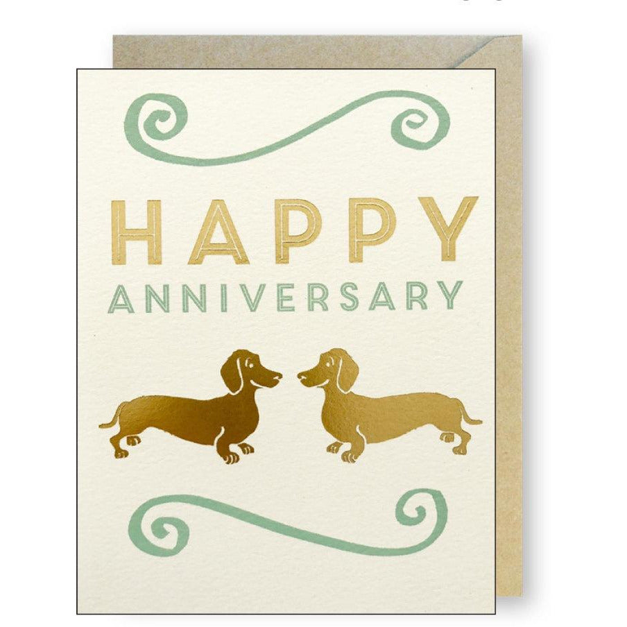 Gold Dachshunds Anniversary Card