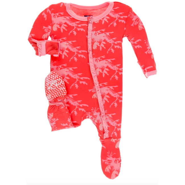 Muffin Ruffle Footie with Zipper - English Rose Leafy Sea Dragon