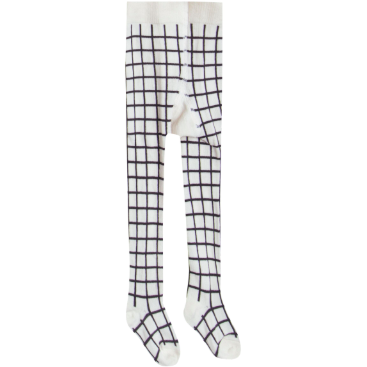 Pattern Ribbed Tights - Black & Ivory Check