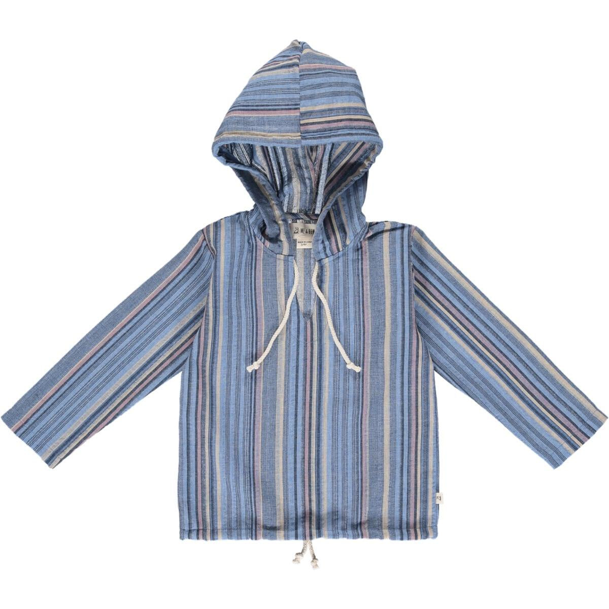 Gauze Hooded Top -  Blue Mutli Stripes