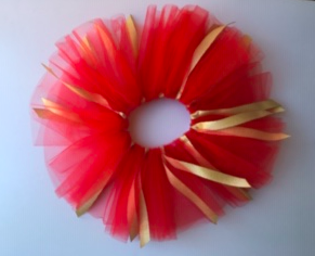 "6"" Ribbon Tutu - Red & Gold"
