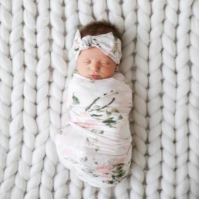 Swaddle & Infant Headwrap Set - Vintage Pink Rose