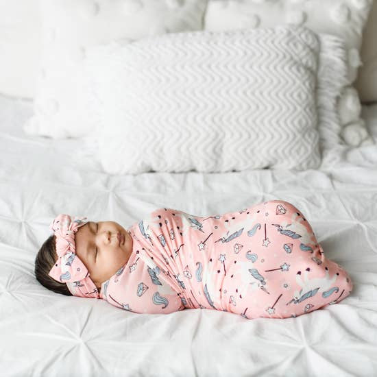 Unicorn Bamboo Swaddle & Headband Set