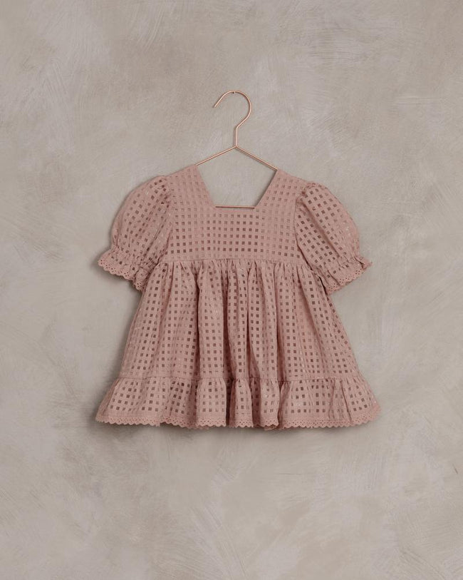Check Quinn Dress - Dusty Rose