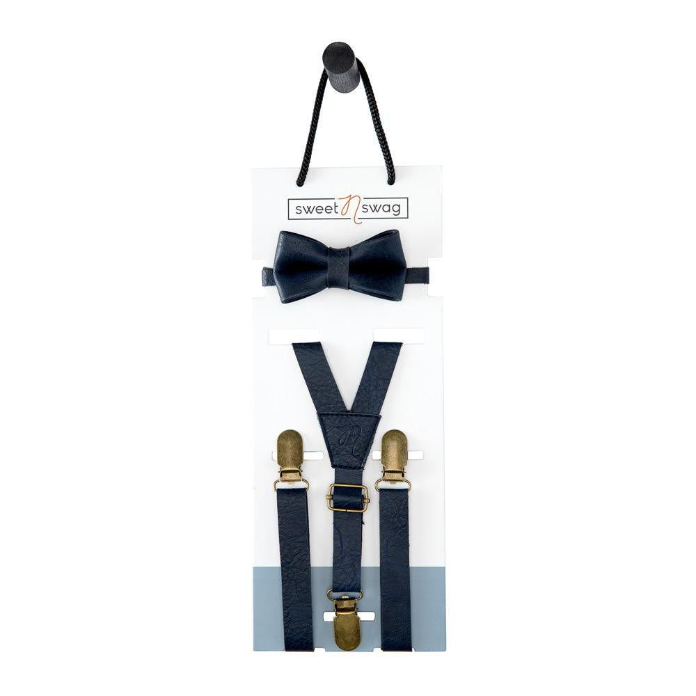 Leather Suspenders & Bow Tie Set - Marine