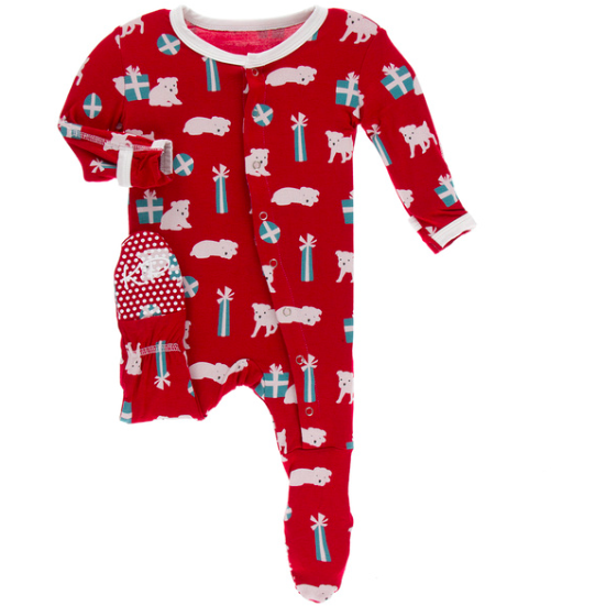 Print Footie with Zipper - Crimson Puppies & Presents