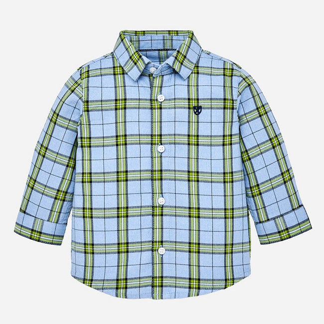 Checked Collared Shirt  - Blue/Green