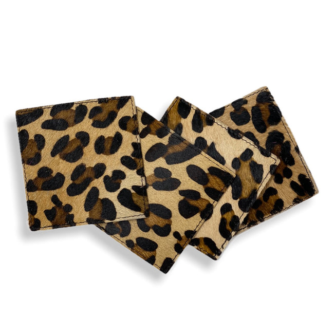 Cowhide Coasters - Set of 4 - Leopard