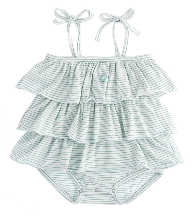 Striped Ruffled Baby Bubble - Green