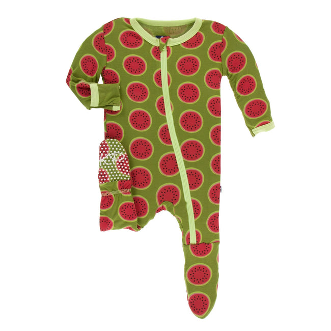 Print Footie with Zipper - Grasshopper Watermelon