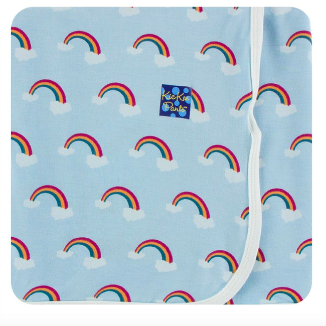 Print Swaddle Blanket - Pond Rainbow