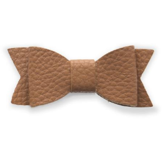Leather Bow Tie Clip - Camel