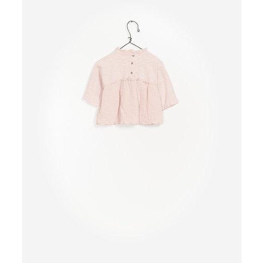 Long Sleeve Gauze Button Up Top - Light Pink