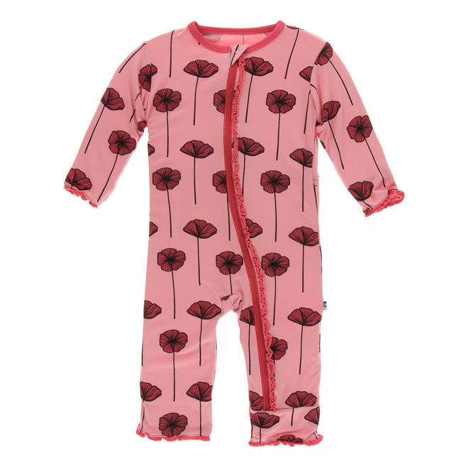 Print Muffin Ruffle Coverall with Zipper - Strawberry Poppies