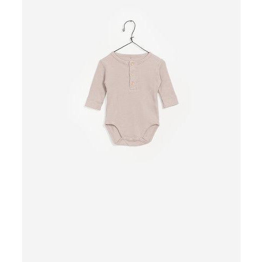 Long Sleeve Button Up Bodysuit - Beige