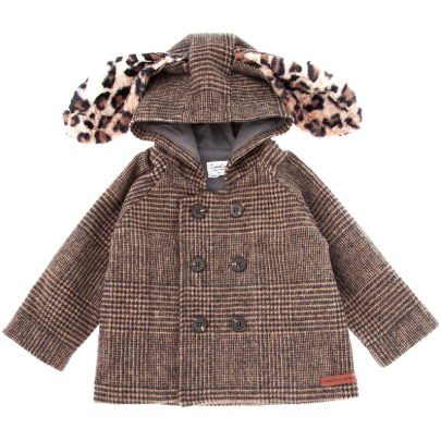 Checkered Hood Coat with Fur Ears - Animal Print