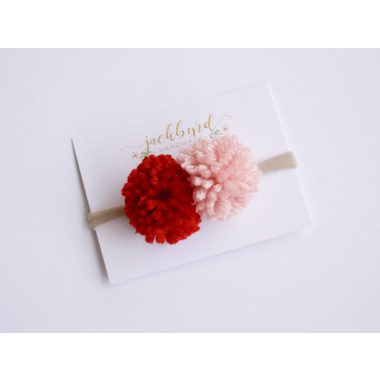 Double Pom Pom Headband - Red & Blush