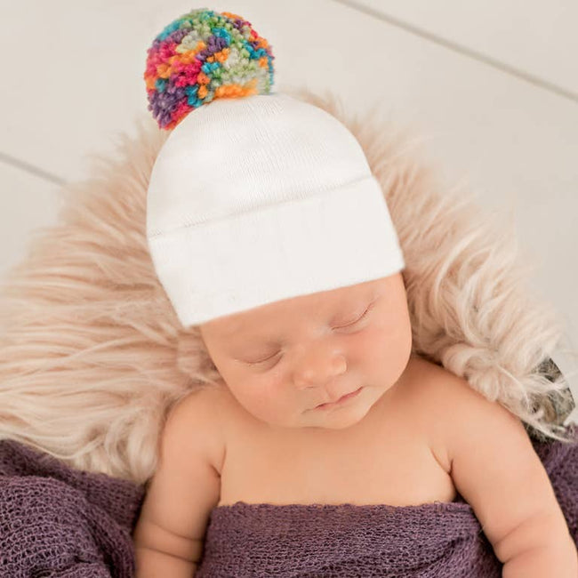 Hospital Hat - White Rainbow Pom Pom