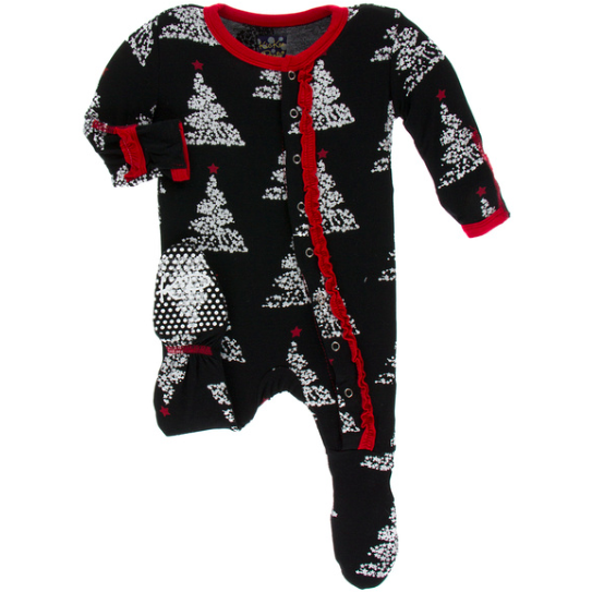 Classic Ruffle Footie with Zipper - Midnight Foil Tree