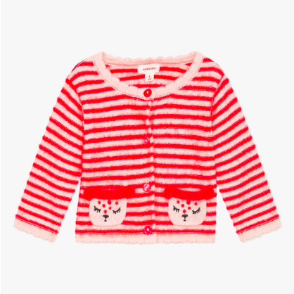 Catimini Animal Patch Stripe Cardigan