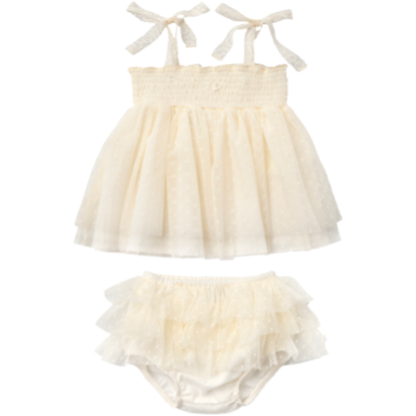 Double Ruffle Tulle Dress & Bloomer Set - Ivory