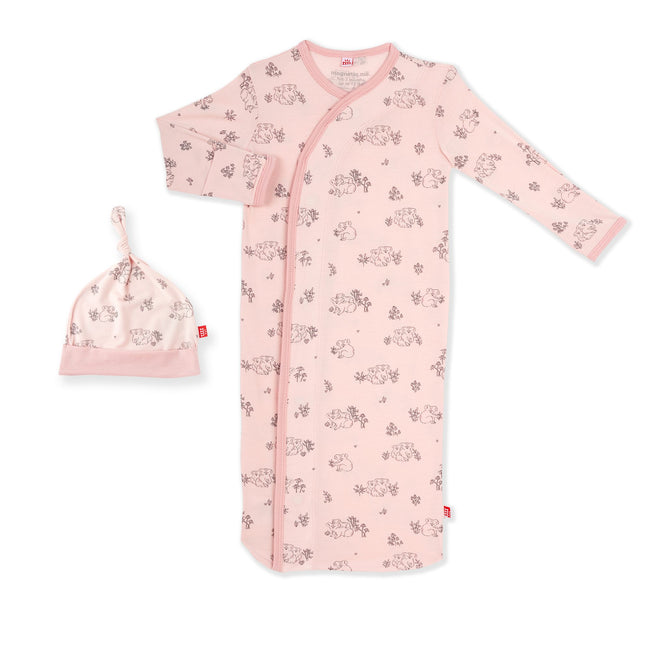Koala Cuddles Pink Modal Magnetic Gown Set