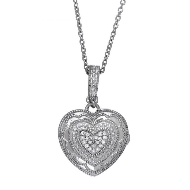 Rose Locket Necklace - Sterling Silver