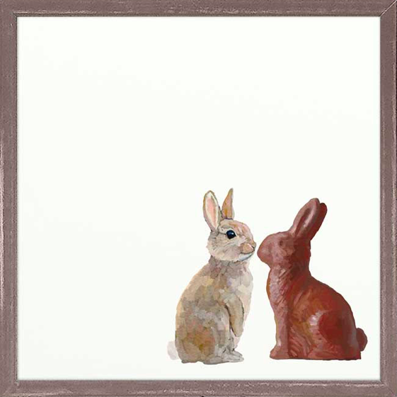 Chocolate Stare Off Framed Canvas - 6x6