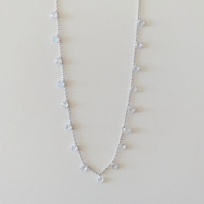 Choker Necklace with Clear CZ's - Silver