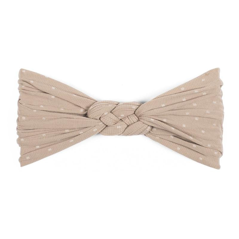 Sailor Knot Headband - Taupe Dot