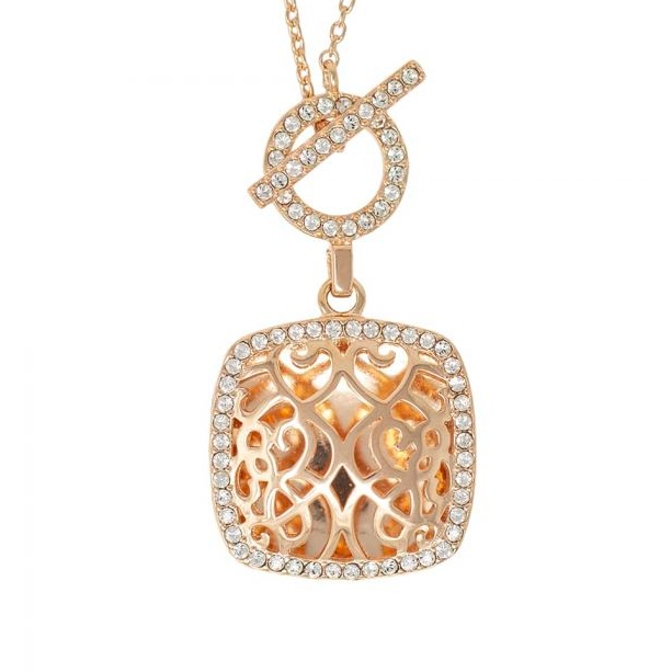 Amelia Locket Necklace - Rose Gold