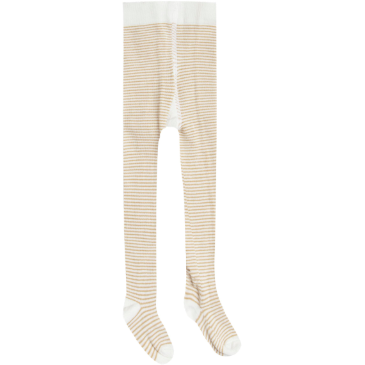 Pattern Ribbed Tights - Honey & Ivory Stripe