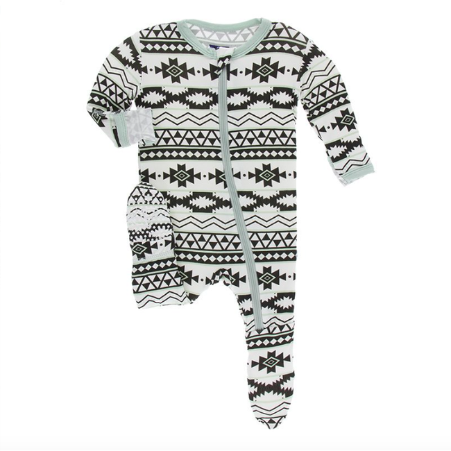 Print Footie with Zipper - Natural Mayan