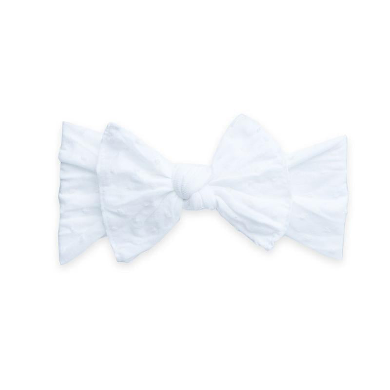 Patterned Knot Headband - Shabby White Dot