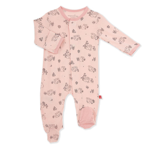 Zipper Footie - Dusty Rose
