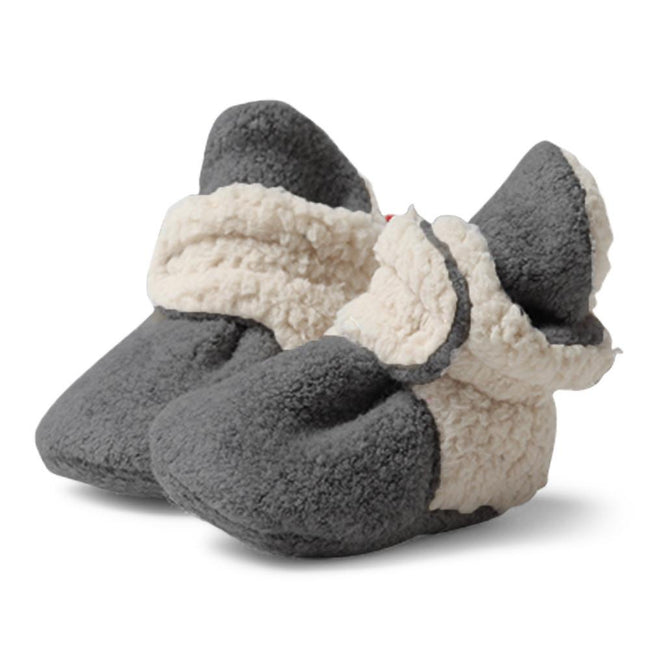 Furry Fleece Stay-On Baby Booties - Gray