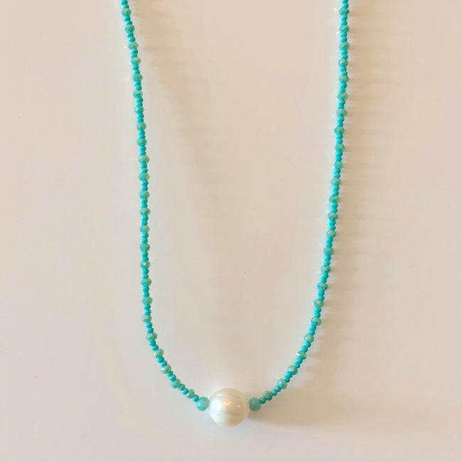 Large Beaded Pearl Necklace - Blue