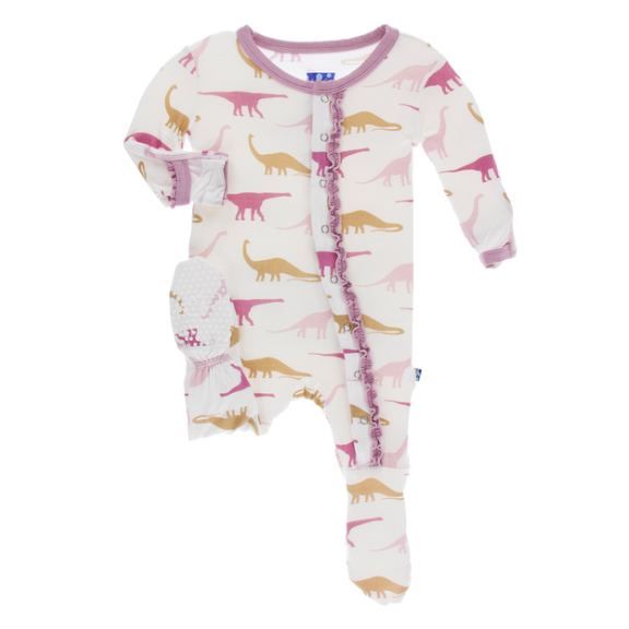 Muffin Ruffle Footie with Zipper - Natural Sauropods